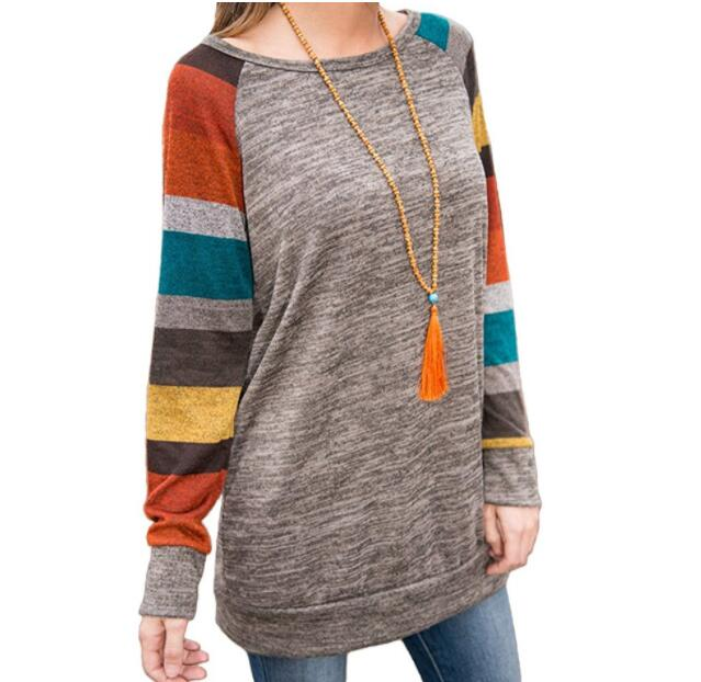 Ecoparty New Womens Crew Leher Striped Long Sleeve T-Shirt Wanita Kasual Longgar Tops Blouse