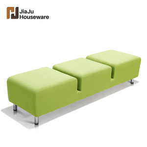 Modern fabric salon waiting sofa 3 seats waiting room bench