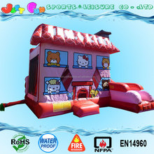 18oz PVC inflatable jump castle with slide cute hello kitty bounce house for sale