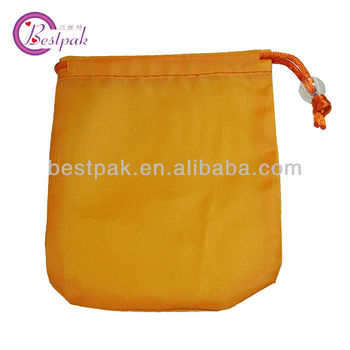 mini orange sheer organza gift drawstring bags