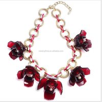 2016 Red Flower Jewelry Resin Flower Statement Necklace 18 K Gold Necklaces