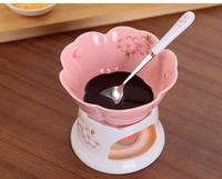 CY160 Ceramic chocolate fondue ice cream pot set cheese hot pot fondue sets with fork and candle