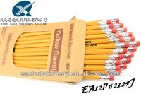 hexagonal HB standard bulk #2 pencils yellow colored pencil number 2 pencil with erasers