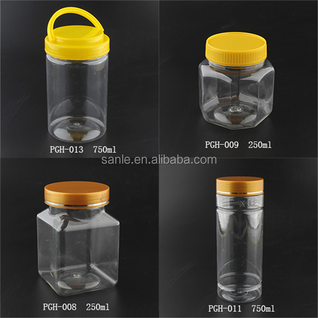 200ml pet clear peanut butter plastic jars,wide mouth round honey bottle