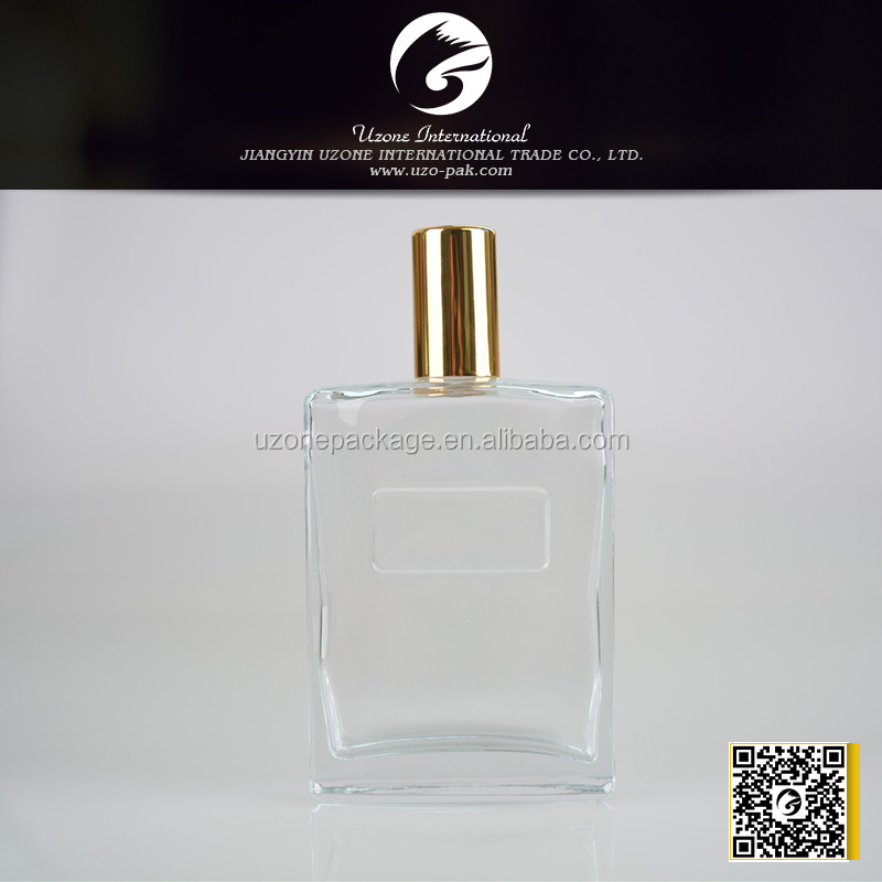 fancy square glass with gold metal stopper 100ml perfume bottle