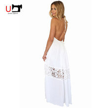 Beautiful Sexy Deep V-neck Backless Splicing with Lace Halter White Women Dress Long