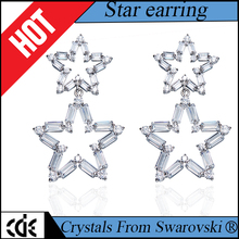 CDE zircon jewelry factory bulk wholesale 2017 fashion brass design cubic zirconia drop earrings