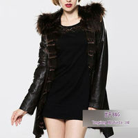 BG23977 Italian Style 100% Real doble sheep leather with Raccoon Dog Fur Coat