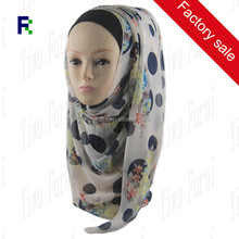 Factory Sale Fshion Flower Print Chiffon Soft Scarves Muslim Hijab Of Beautiful Charming Islamic Scarf