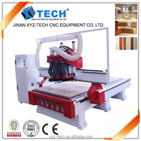cnc router woodworking xj 1325 3 spindle tool change machine to make wooden letter with artcam wood carving design