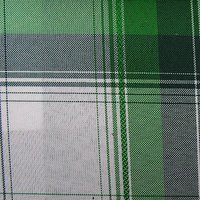 polyester green white check oxford fabric