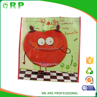 Popular design recycle foldable green cute pp woven gift shopping bag