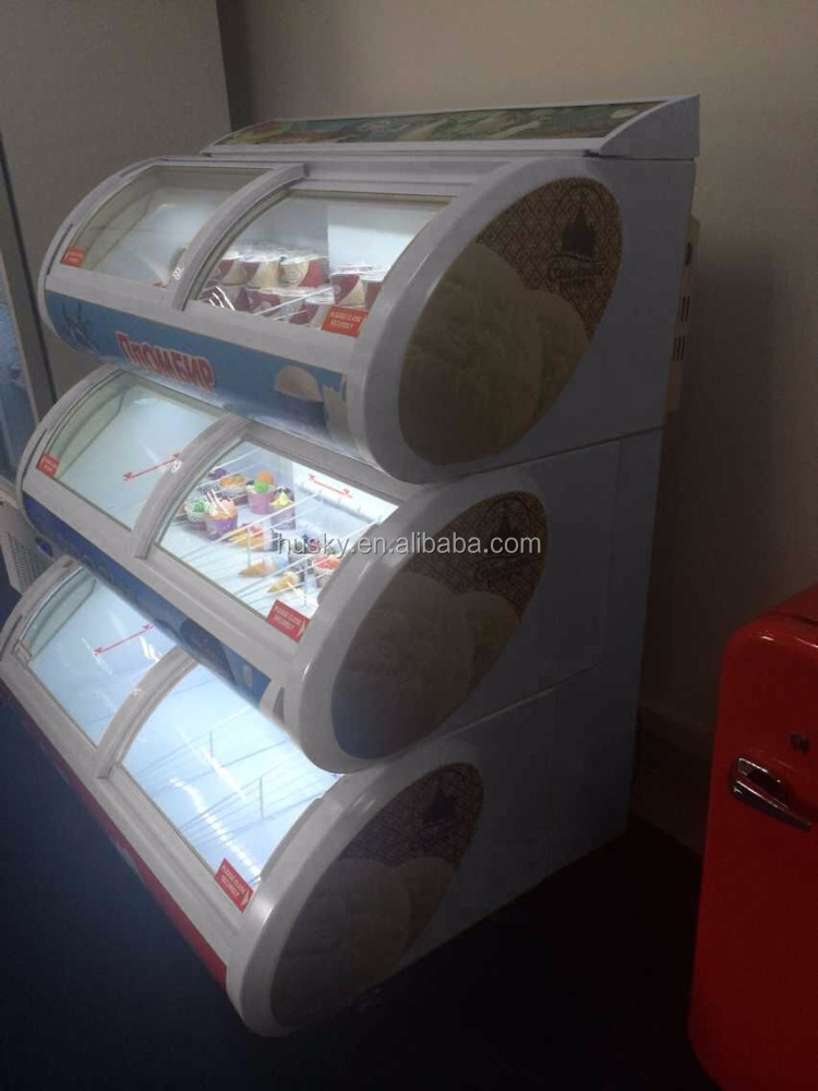 curved glass door lid freezer 2layer