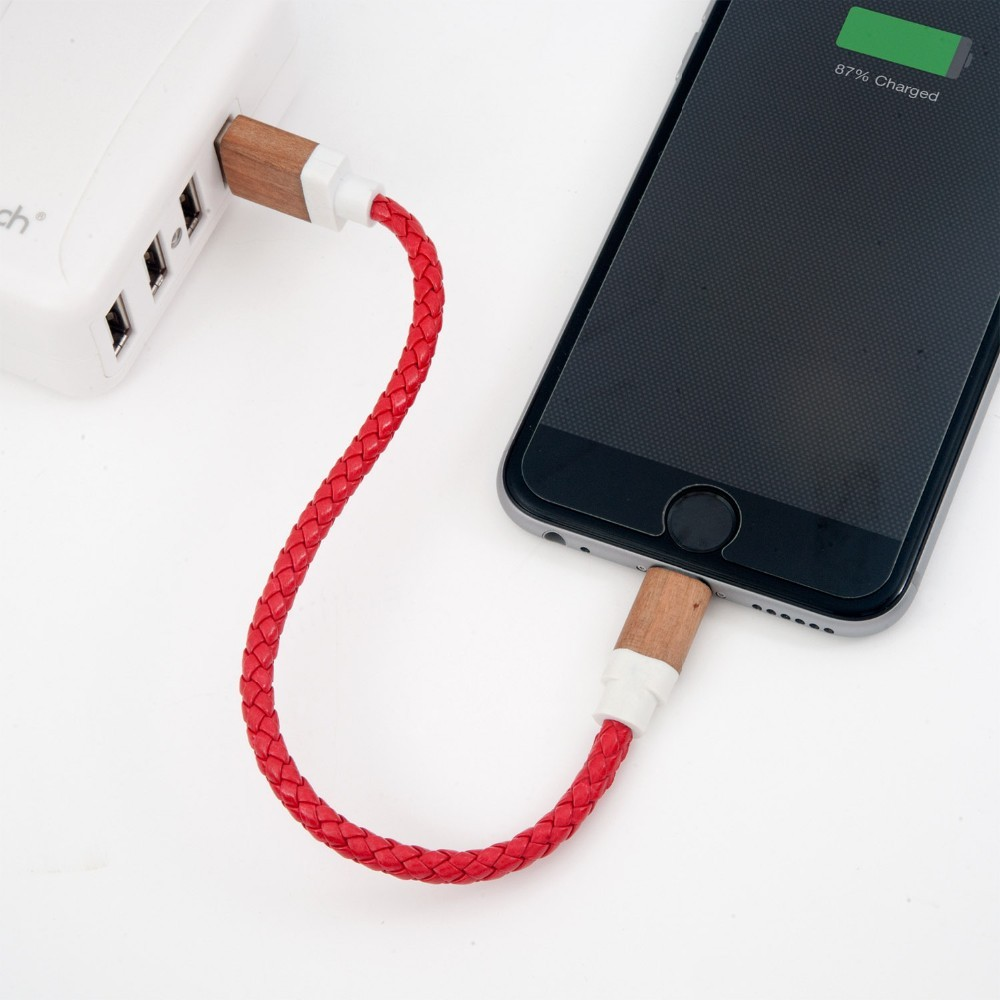 Letouch brand mobile phone use usb charger cable type leather bracelet with 8 pin wood connector