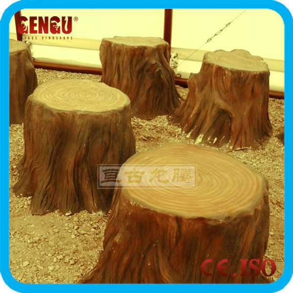 Decorative artificial fiberglass tree stumps