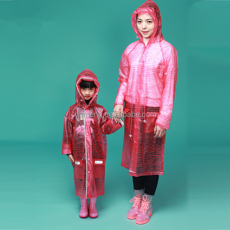 Wholesale cheap fashion PVC hooded raincoat women with hood and pocket