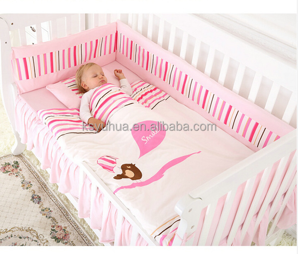 Baby pink bedding sets crib bumper pads