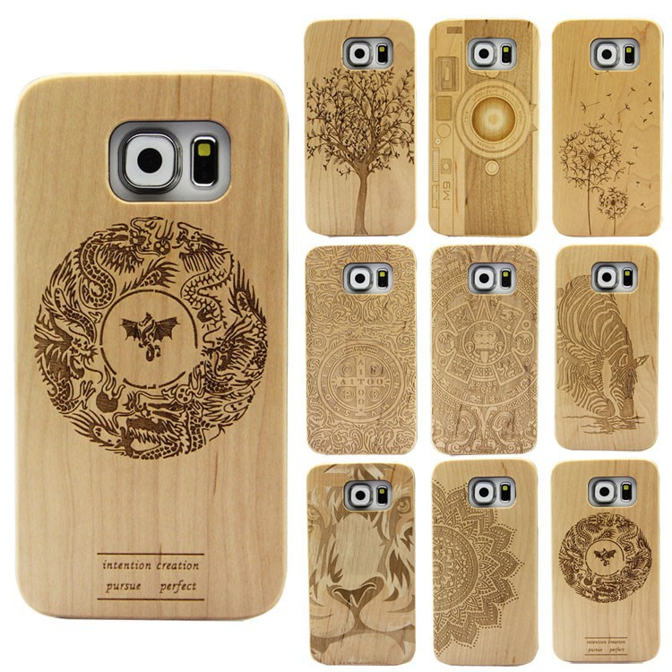 2016 Hot Selling Cell Phone Accessory Customized blank wood plastic back cover case for Samsung Galaxy S6