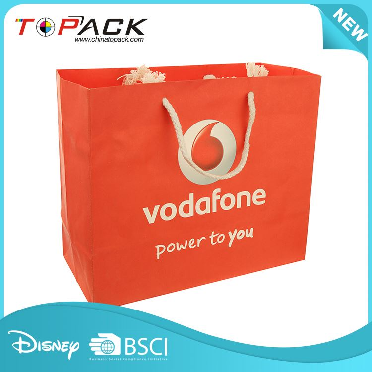 Top fashion superior quality fashion orange paper shopping bag