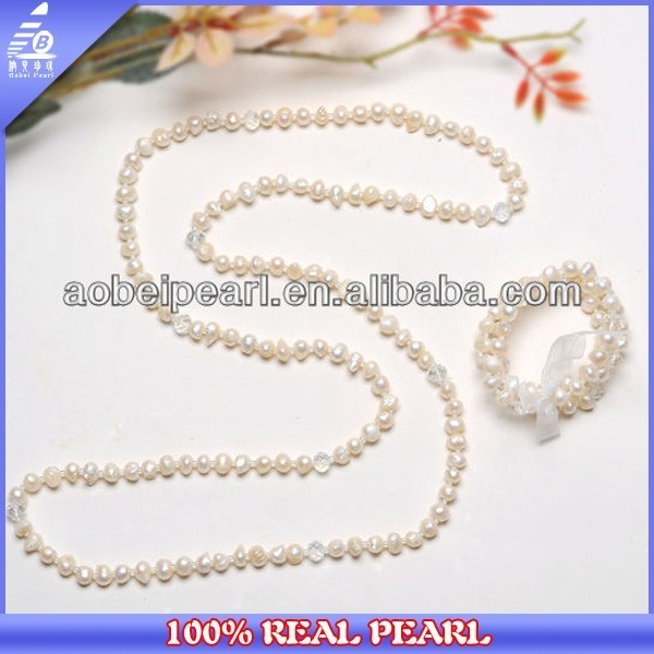 2015 HOT 9-10MM WHITE PEARL JEWELRY SET