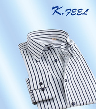 Black and white cotton stripe man shirt for office uniform