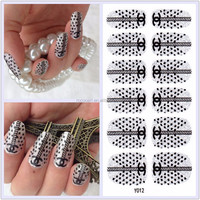 Y5012/Beauty black and white star designs nail art stickers self-adhesive