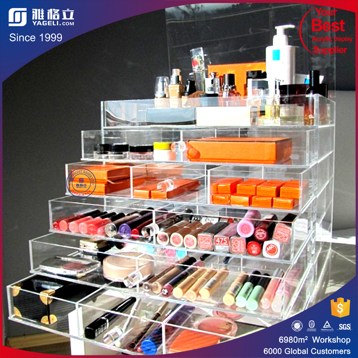 Online Shopping Brush Holder New Products Acryl Nail Polish Display Rack / Acrylic Cosmetic Display 3 Tier