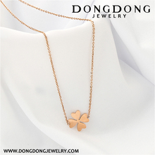 027 classical jewelry gold plated stainless steel clover shape pendant necklace