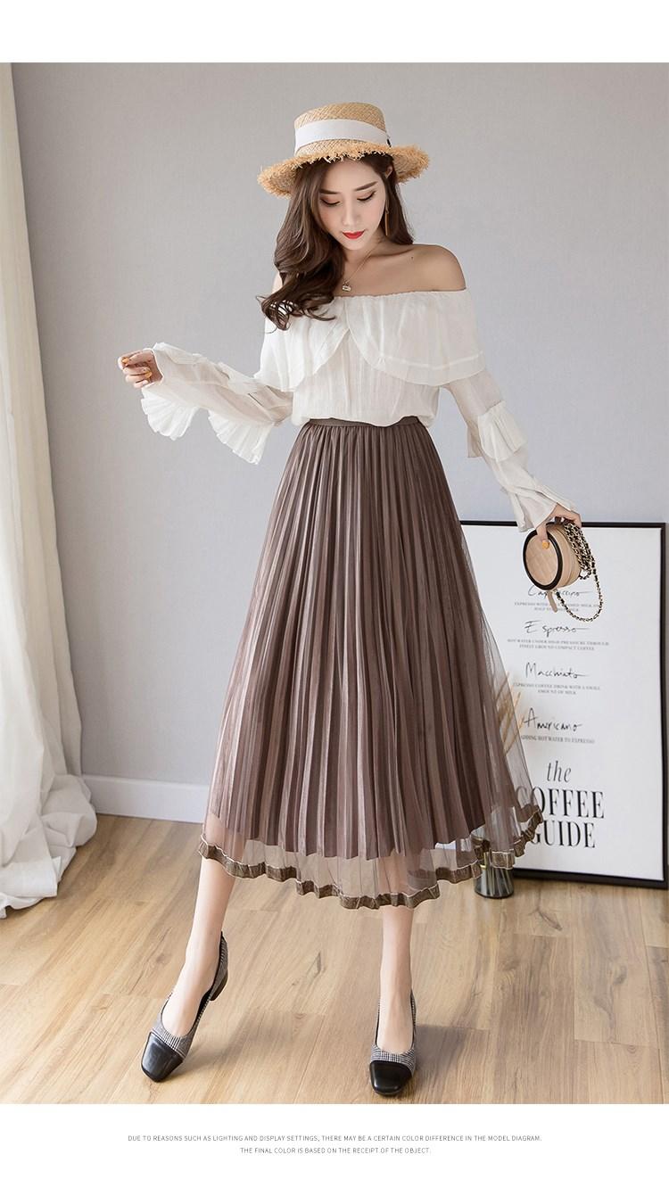 pleated skirt  gold velvet mesh skirt spring skirt maxi dresses
