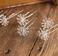New design pearl hairpin wedding hair accessory floral shape pearl material hair tools bridal decorative snowflake hairpin