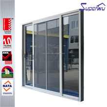 Strong and durable security mesh aluminium double sliding door with double track water resistant door