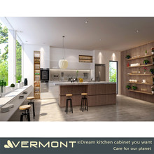 China Factory Direct Modern White High Gloss Kitchen Cabinets Design With New Model Wood Grain Kitchen Island