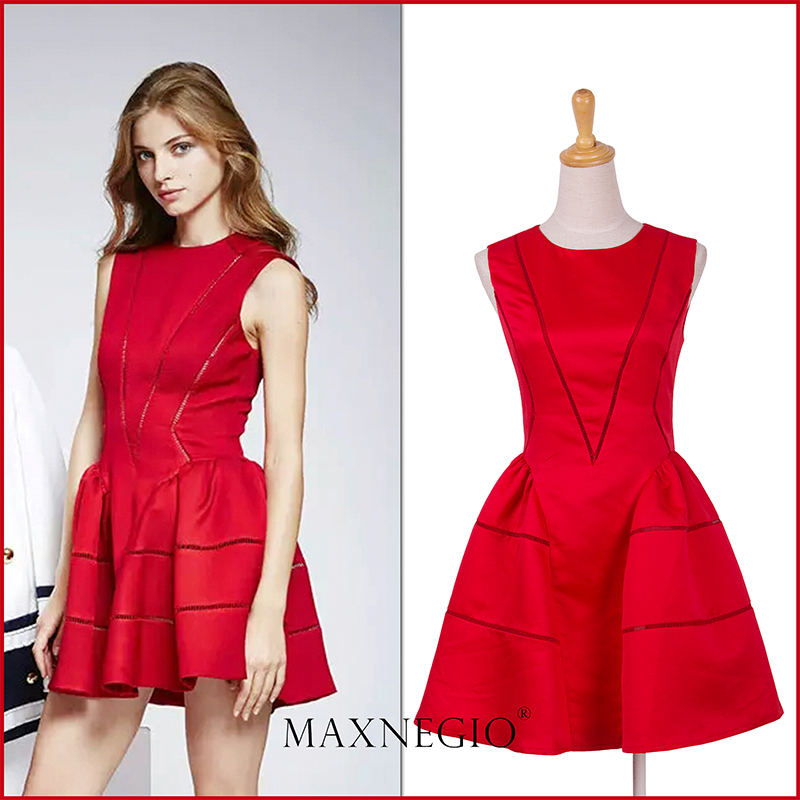 MaxNegio Brand 2016 Real Pictures of Designer Patchwork Sleeveless One Piece Short Cocktail Party Dress