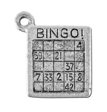 antique silver square shape bingo number games pewter charm