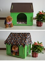 Unique Strong Real Wood Dog House with Door Green