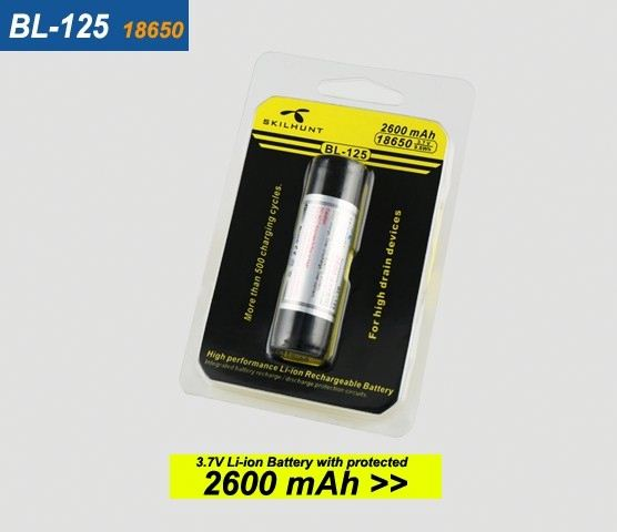 BL-125 3.7V 2600mAh protected 18650 rechargeable lithium li-ion battery