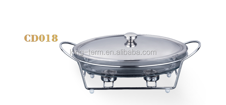 CD018 2016 New Glass Pot Oval Chafing Dish