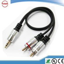 1m High Grade Audio Metal 3.5mm Stereo Jack to 2 RCA Phono Plugs Cable