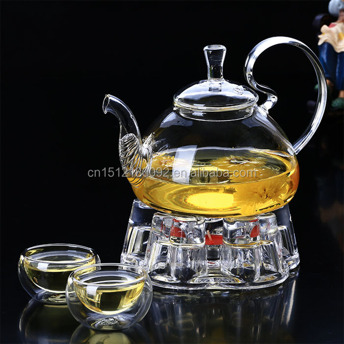High quality clear borosilicate glass tea set