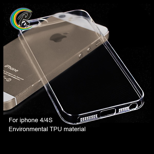 fashion for iPhone 4 ultra thin transparent crystal tpu hard case cover for iPhone4 shockproof protective cell phone case