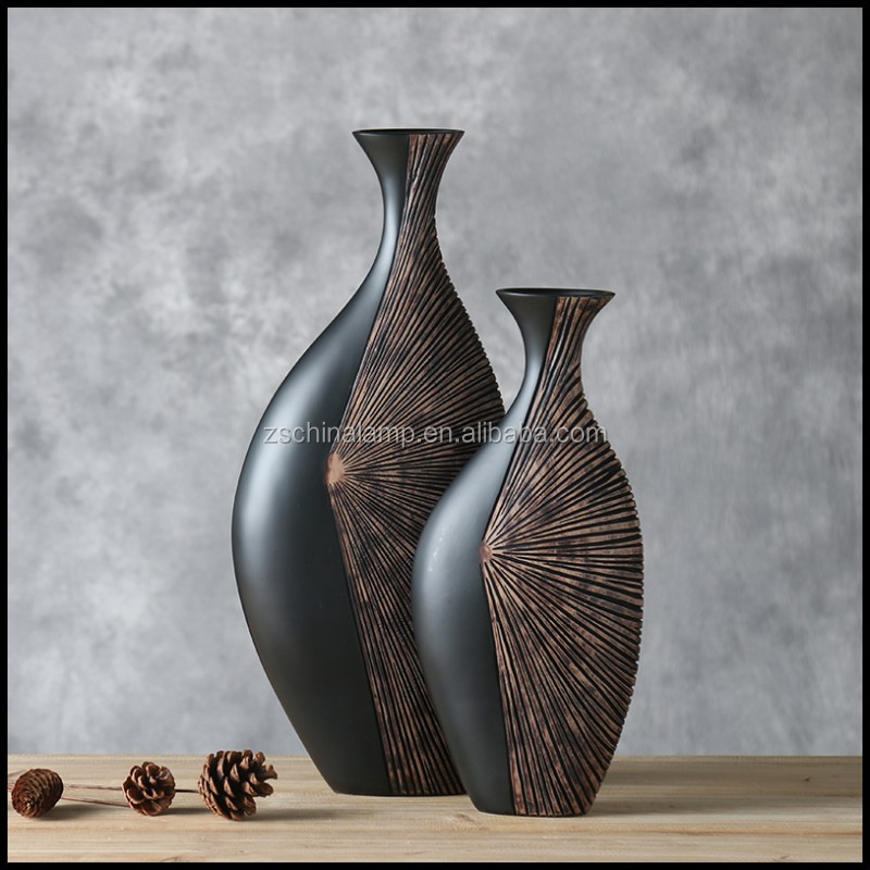 Professional Resin China Flower Vase With Black Color Abstract Figure Luxury Italian Furniture For Home Accessories Modern