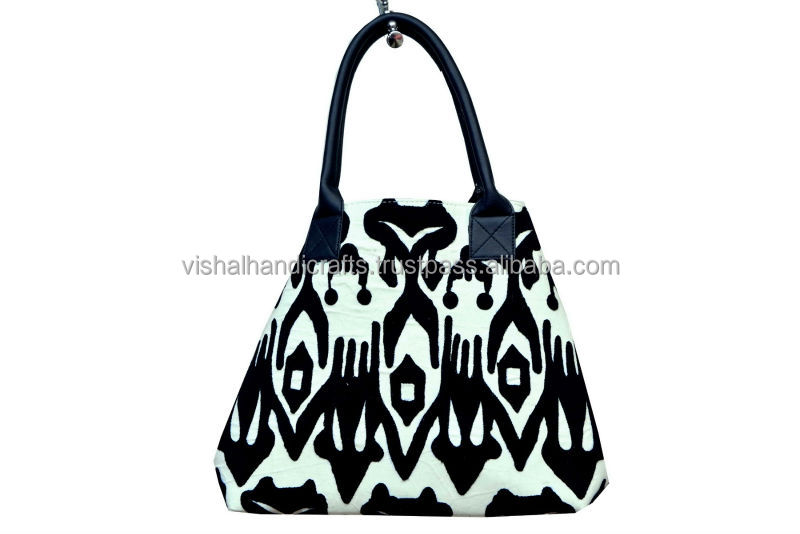 New Suzani Embroidery Bag/Suzani bag Leather handle bag/ iKAT Embroidery Begs