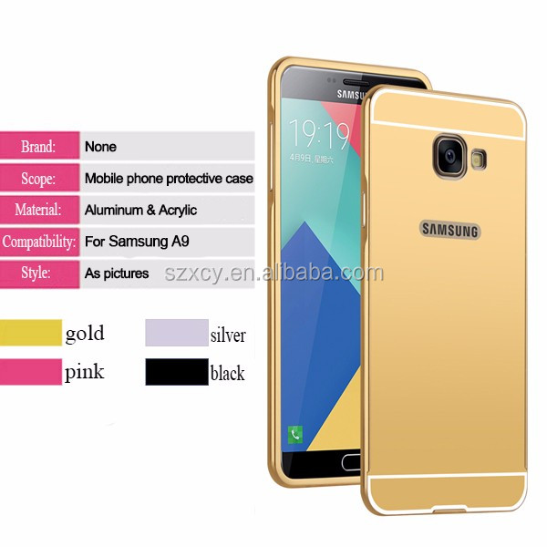 360 degree Metal bumper electroplating hard PC mirror back cover case for samsung galaxy a9 pro