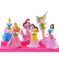 6psc/set 8cm snow white princess flash powder action figure doll model wholesale price