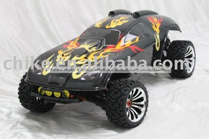 1/5 scale 4WD 30.5cc 4X4 RC TRUCK with ALLOY WHEEL + TUNEPIPE + 2.4G