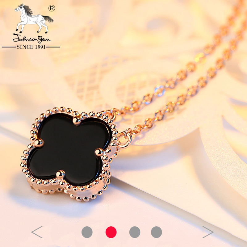 Valentines Gift four leaf cover Agate pendant beautiful rose gold silver 925 necklace designs for girls