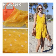 Cheap price 100%polyester polka dot print crinkle crepe chiffon clothing fabric for garment