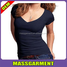 Fashional design comfortable ladies deep v-neck plain t shirt