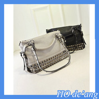 Top selling Rivet women handbag/cheap lady shoulder bag/balck handbag