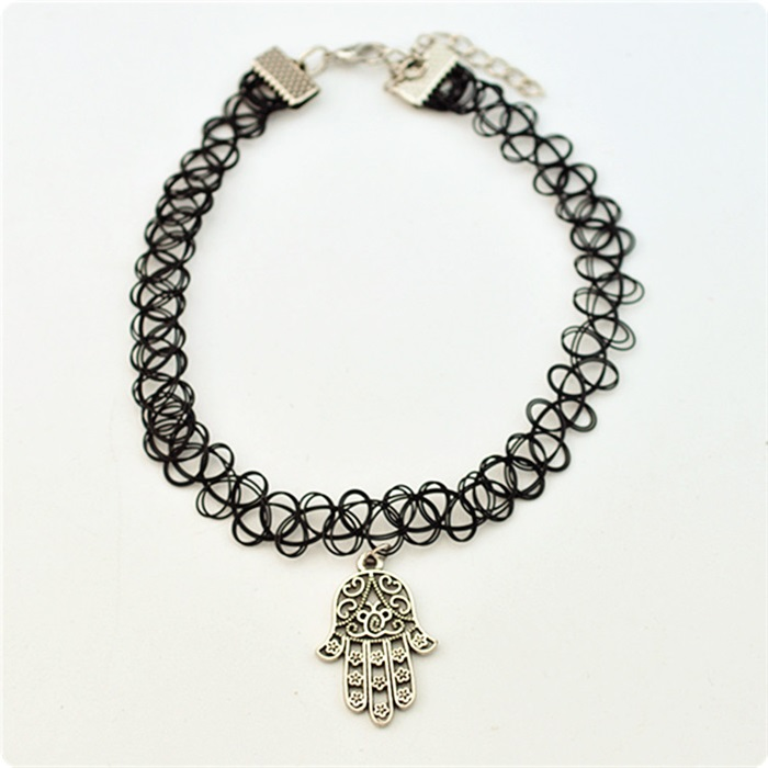 Elegant girls black Lace Long Leather Chain with silver plated hamsa charms collar Necklace